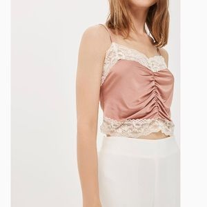 TOPSHOP Satin and Lace Ruched Camisole NWT